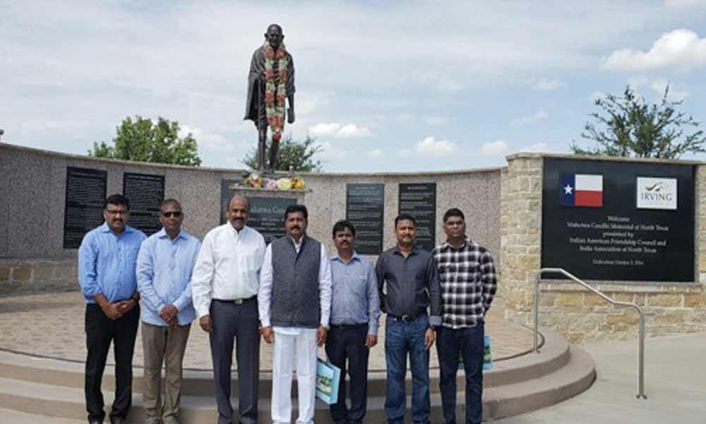 MP Lingaiah Yadav paid tribute to Mahatma Gandhi in Dallas