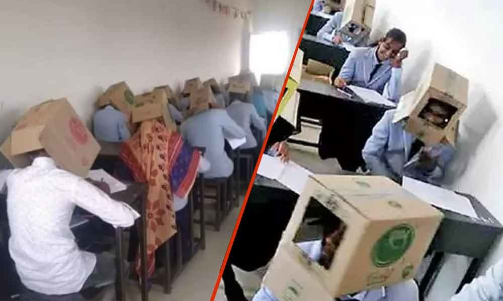 To curb malpractice, college students made to write exam wearing cardboard boxes in Karnataka