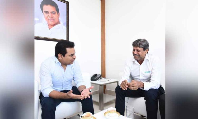 Former Indian cricket captain Kapil Dev calls on KTR