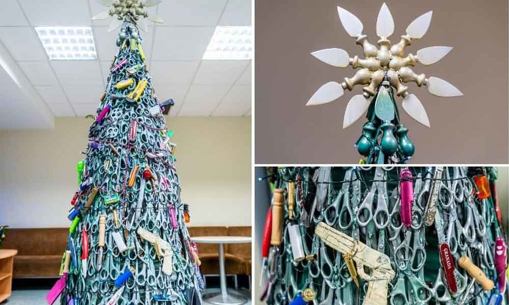 Christmas tree with bullets and scissors