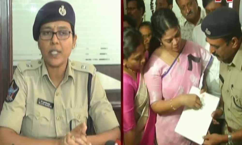 Police gives a befitting reply to MLA Adireddy Bhavani, alleges political motive behind the complaint