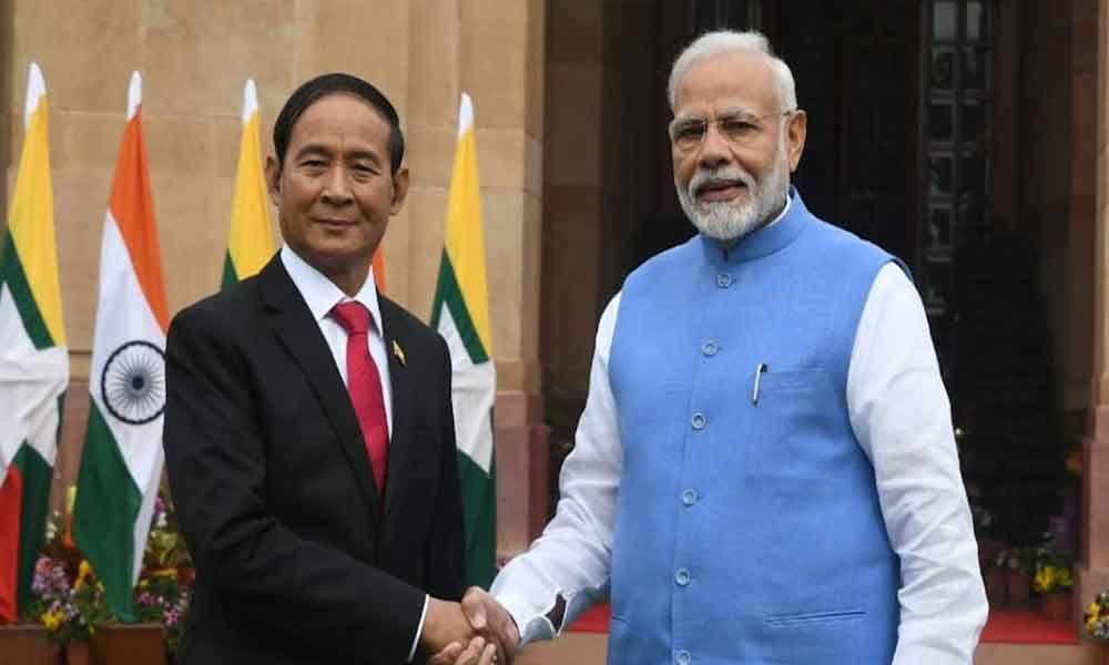 Myanmar President U Win Myint meets PM Modi