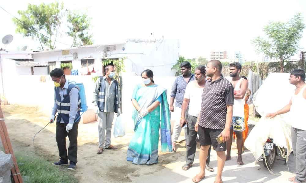 Hyderabad: Corporator Cheruku Sangeetha Prasanth Goud takes out padayatra in Nagole