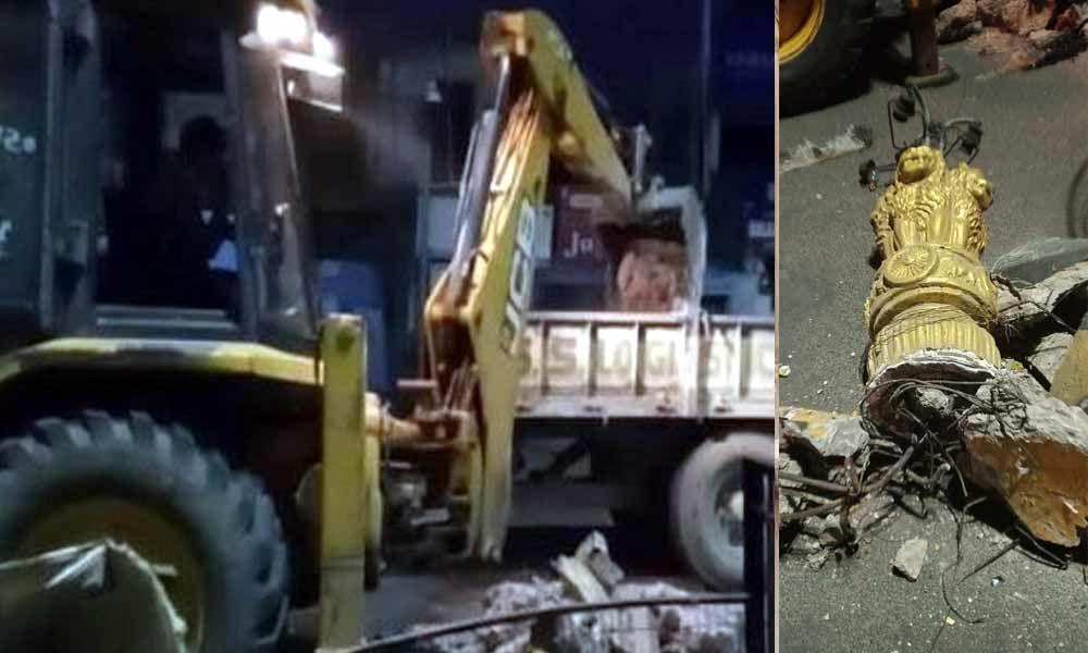 Civic body demolishes historic Three Lanterns Pillar in Vizianagaram