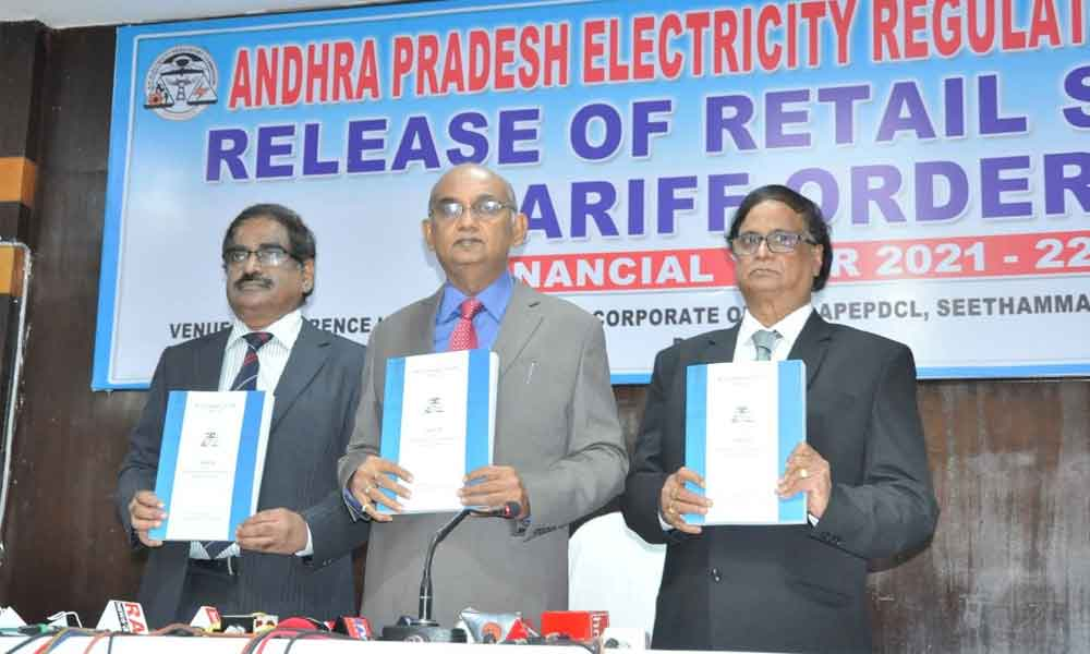 APERC chairman CV Nagarjuna Reddy releasing the retail supply tariff order at the corporate office of the Eastern Power Distribution Company Limited in Visakhapatnam