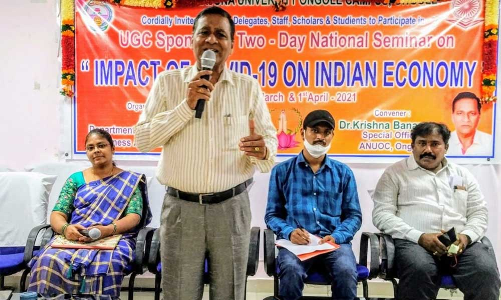Special officer of ANU PG Centre Dr Banana Krishna addressing at the national seminar  on Ongole campus on Thursday