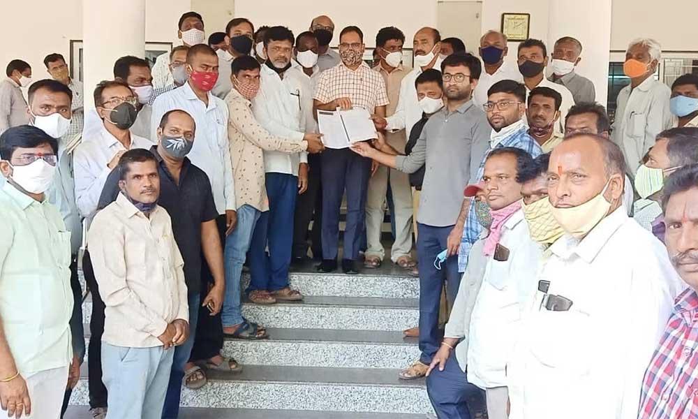 TRSMA representatives submitting a representation to District Collector  K Shashanka at Karimnagar Collectorate on Thursday