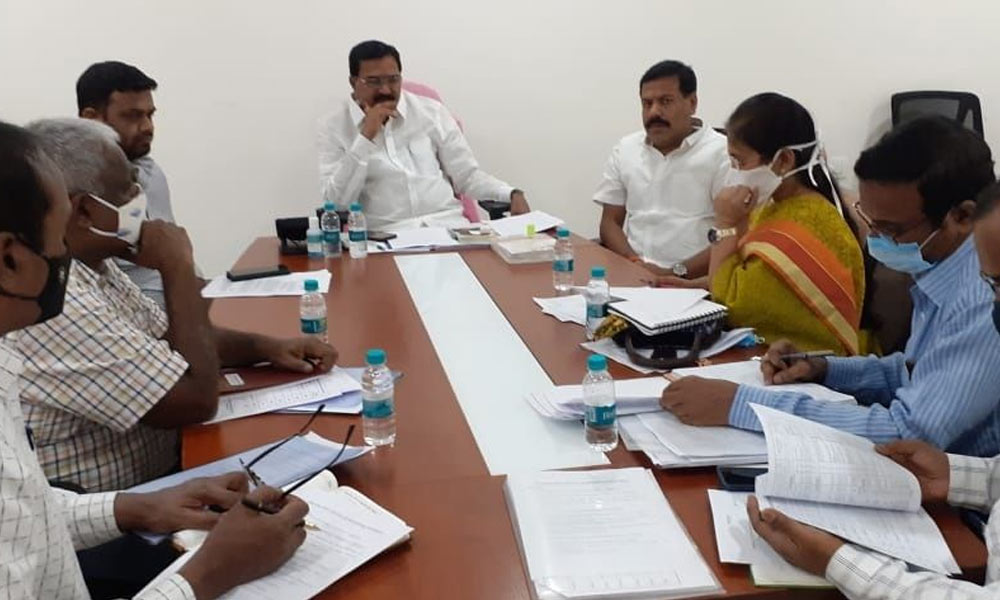 Agriculture Minister Singireddy Niranjan Reddy holding a review meeting on purchase of grains and development of markets in the State