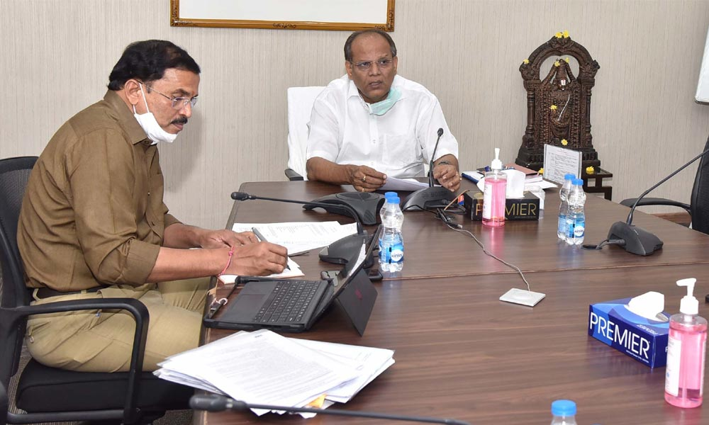 Chief Secretary Somesh Kumar conducting a teleconference with the municipal officials in Hyderabad on Saturday