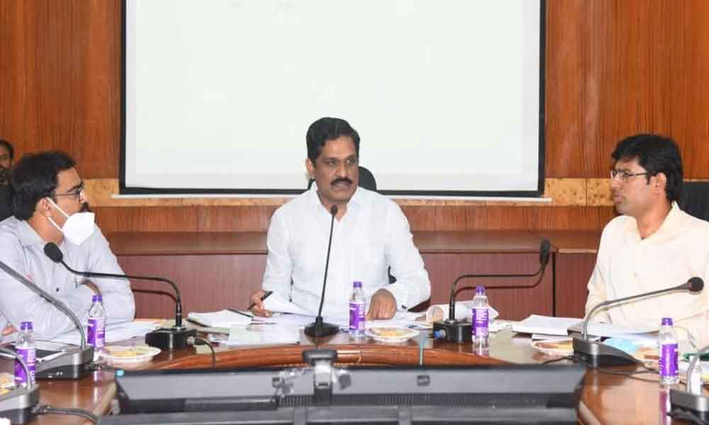 Principal Secretary, Transport, Roads and Buildings MT Krishna Babu at a meeting with the district officials at the Collectorate in Visakhapatnam on Saturday