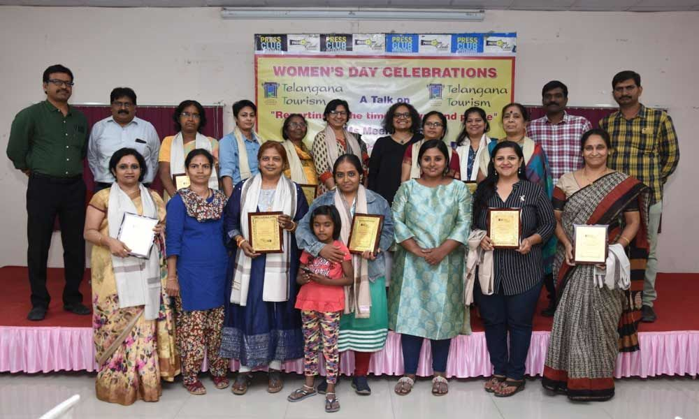 Senior women scribes felicitated