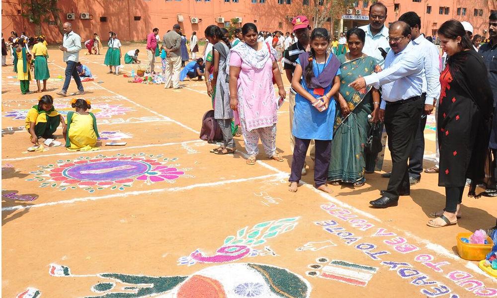 Rangoli competition helps educate voters in Vijayawada