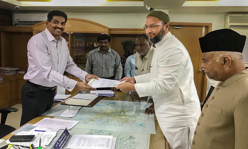 Owaisi files nomination for 4th term from Hyderabad