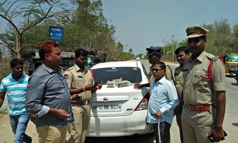 7 lakh seized during vehicle checking in Dubbaka