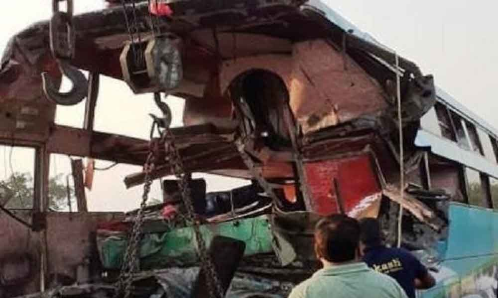 8 killed, 30 injured in bus collision in UPs Greater Noida