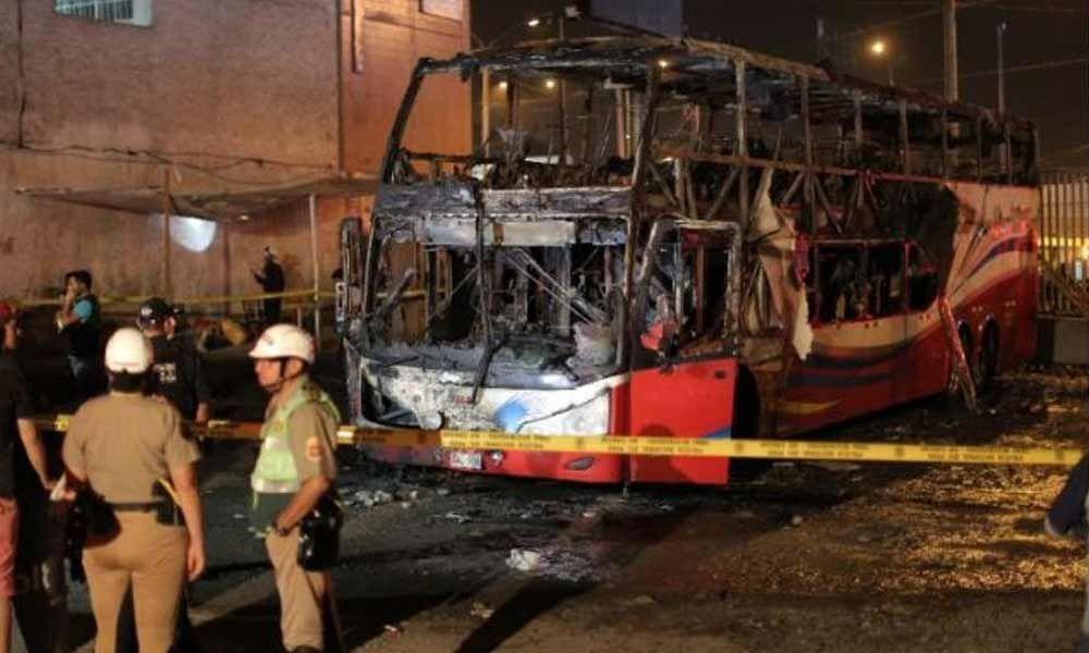 20 killed, 10 injured in bus fire in Peru
