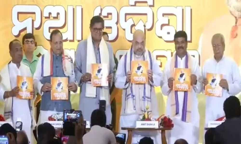 Amit Shah releases BJP manifesto in Odisha