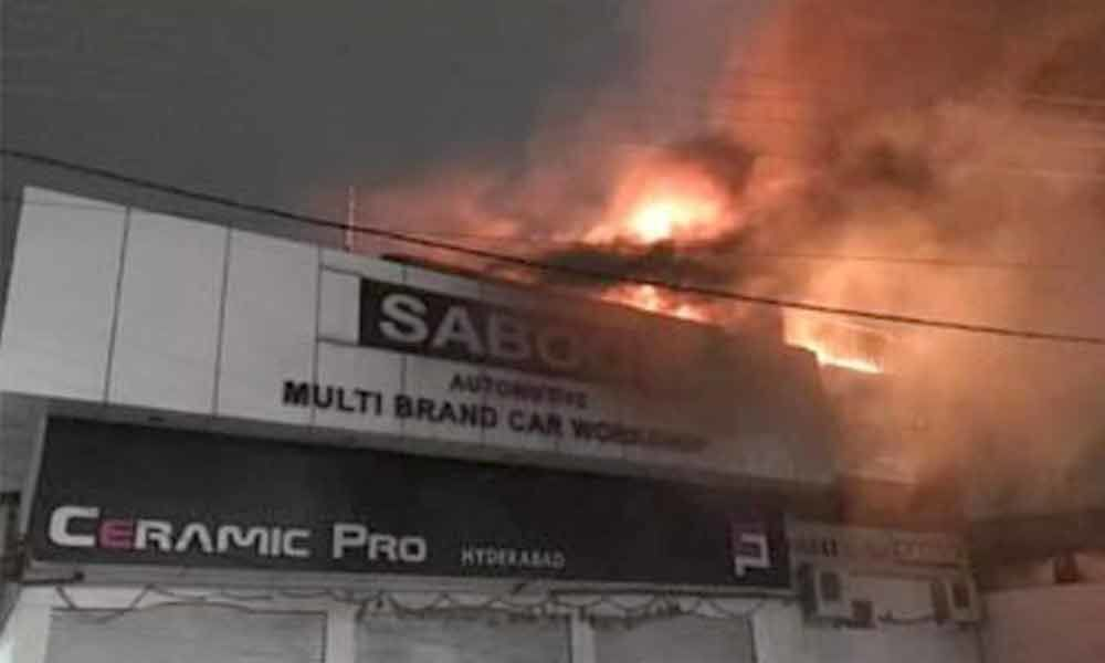 Fire breaks out at car showroom in Hyderabad