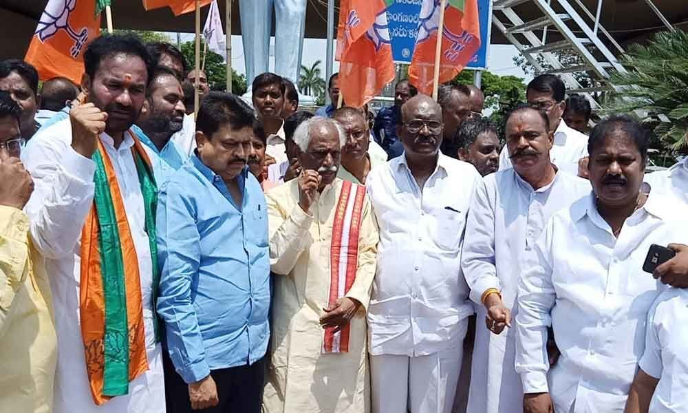 BJP leaders stage protest at Ambedkar statue