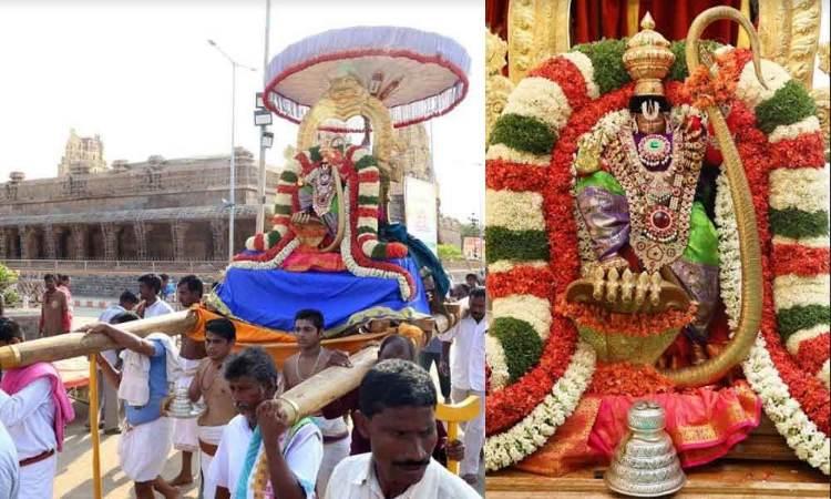 Lord Rama gives darshan to devotees in Kaliyamardhana Alamkaram at Vontimitta brahmotsavam
