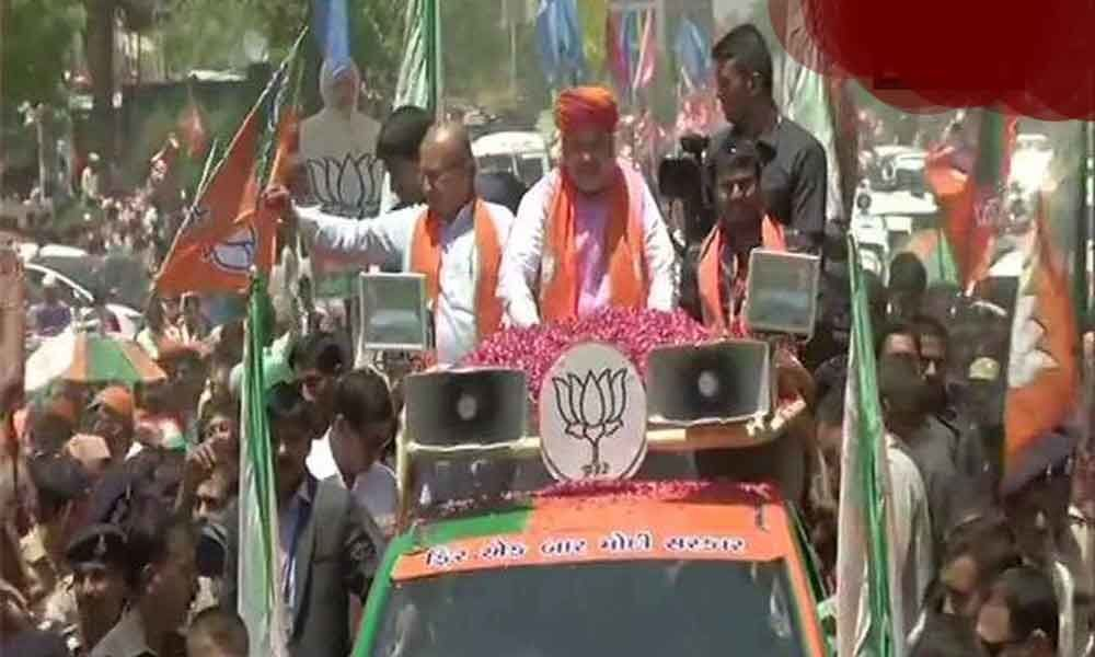 Amit Shah takes out roadshow in Gujarat