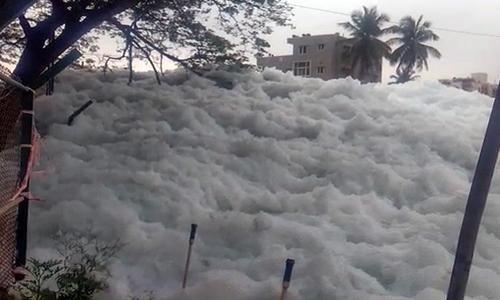 Toxic Lake of Bellandur spews froth again
