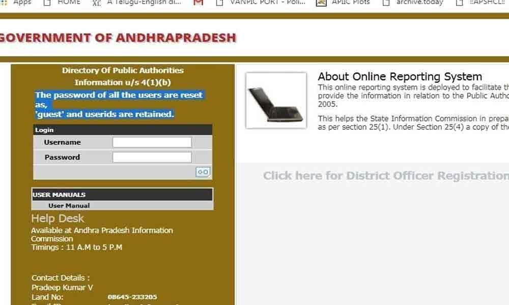 APIC website reveals IDs, passwords of officials