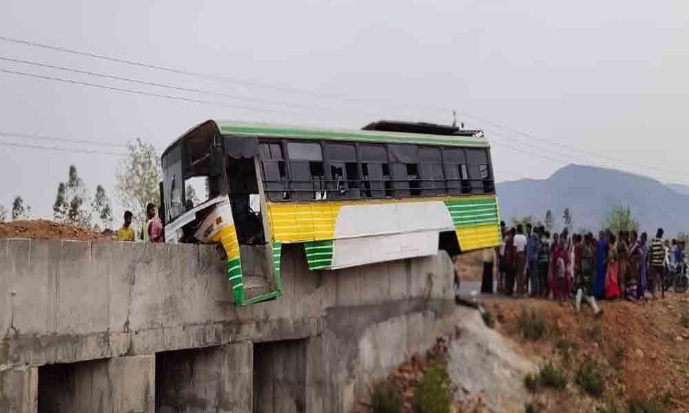 15 injured as RTC bus hits culvert