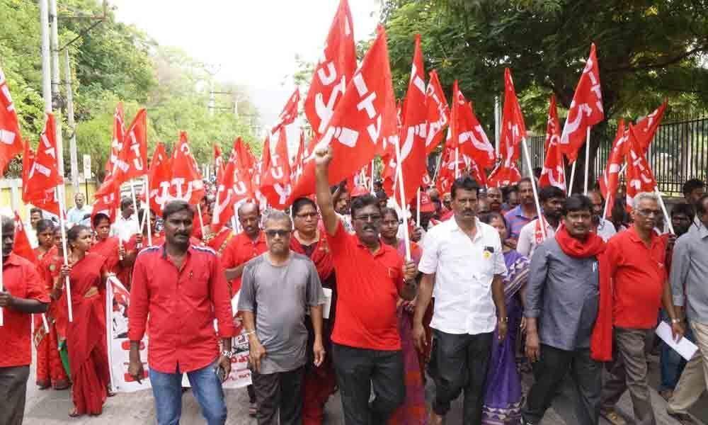 Rallies, meetings mark May Day in Tirupati