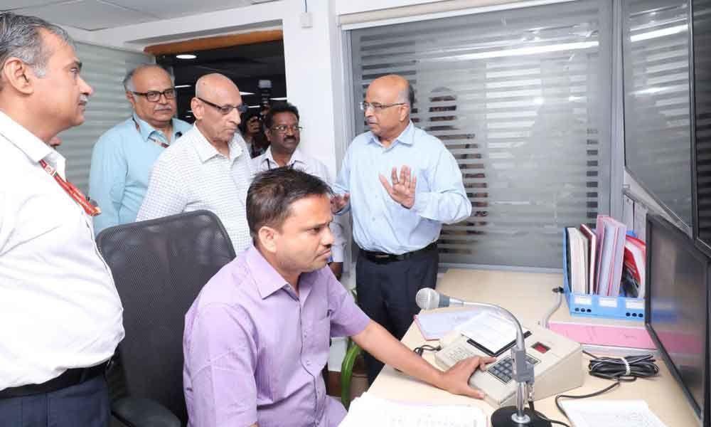 E S L Narasimhan visits Sanchalan Bhavan