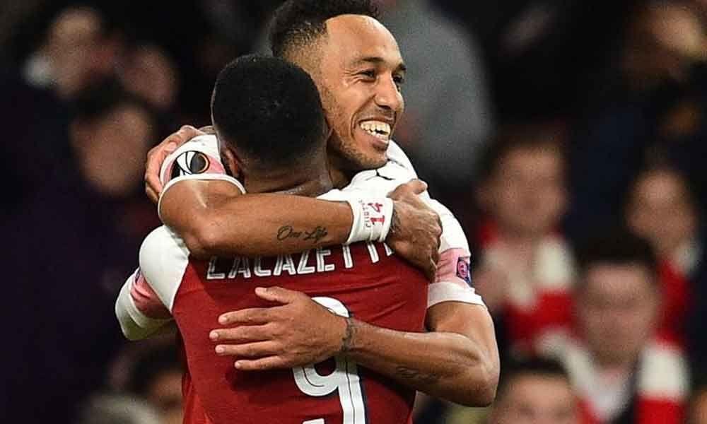 Lacazette, Aubameyang help Arsenal cruise towards Europa League Final