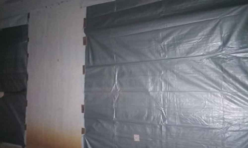 Strong rooms protected with tarpaulin