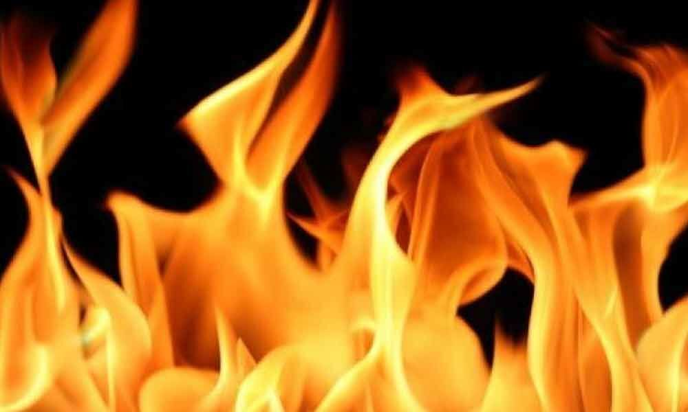 Fire mishap in tobacco godown at Guntur
