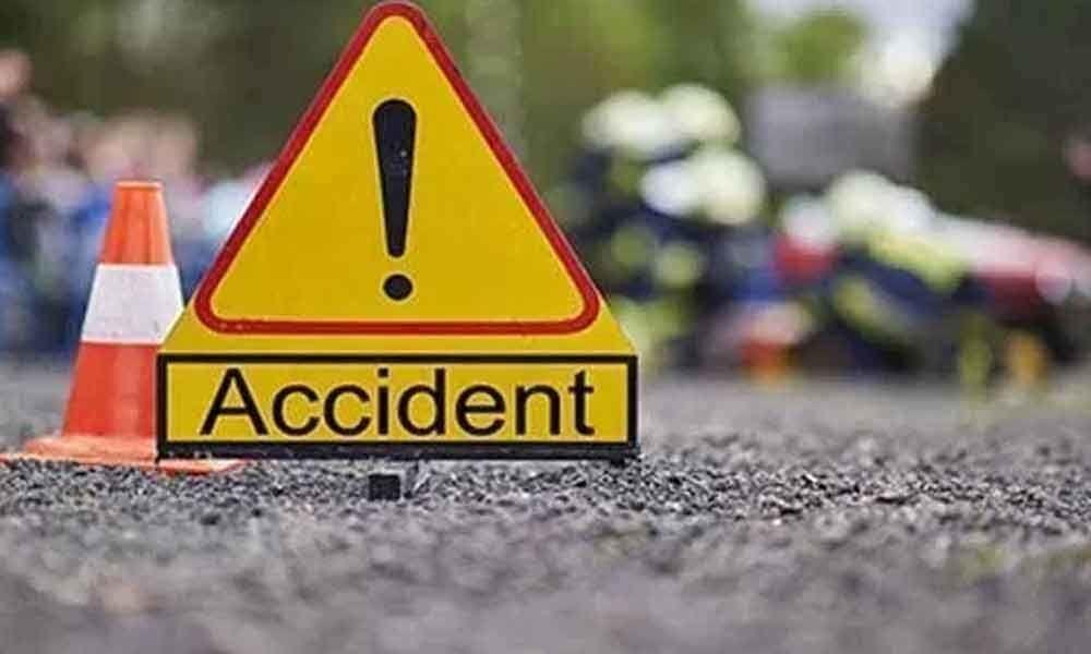 RTC bus hits lorry near Eluru bypass road