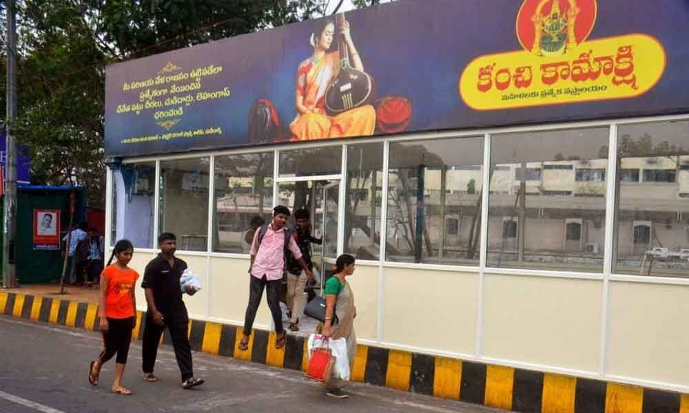 AC bus stop for RTC passengers in Vizag