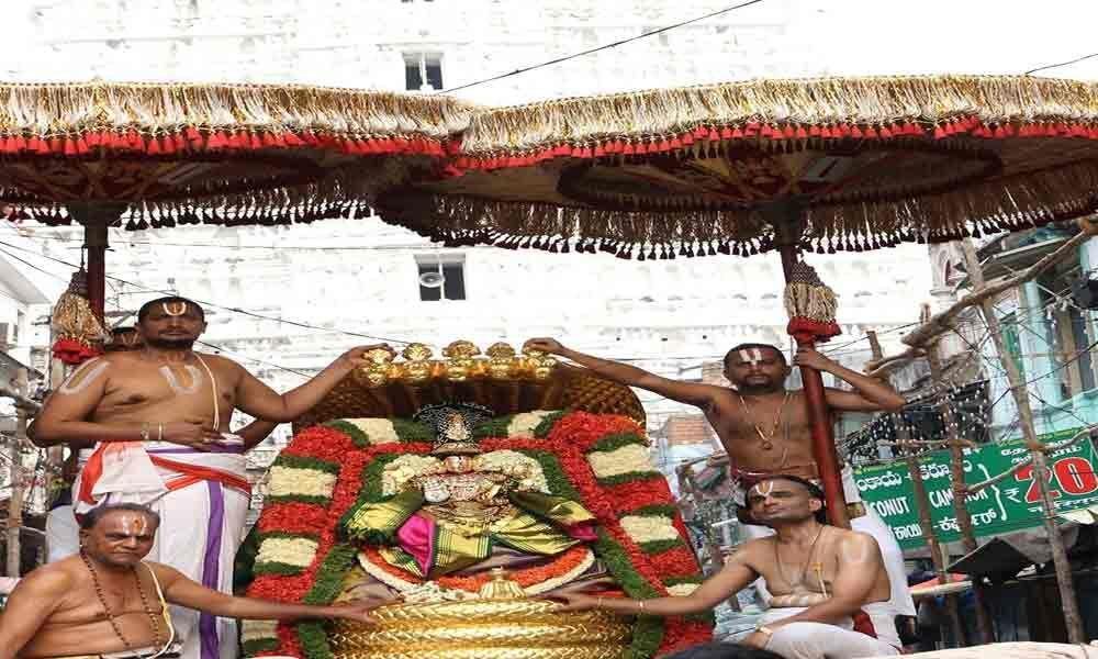 Lord Govindaraja rides Chinnasesha Vahanam
