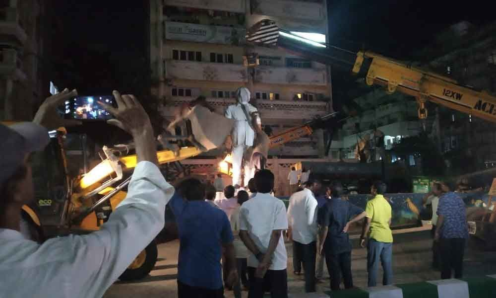Removal of celebrities statues in Visakhapatnam