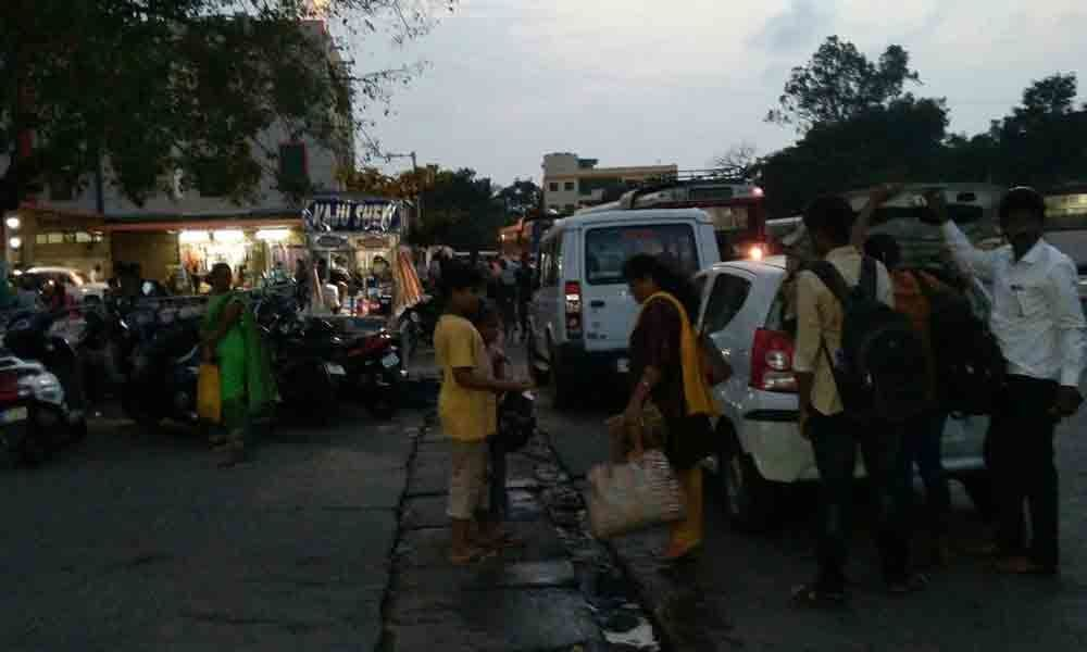Irregular parking of vehicles obstructs traffic at RTC complex in Srikakulam