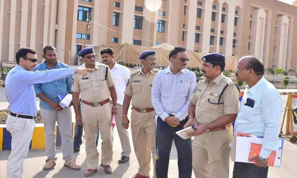 SP inspects counting arrangements at Krishna University