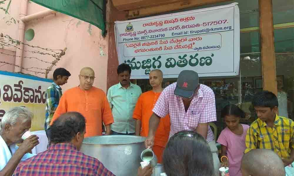 Distribution of buttermilk for free launched in Tirupati