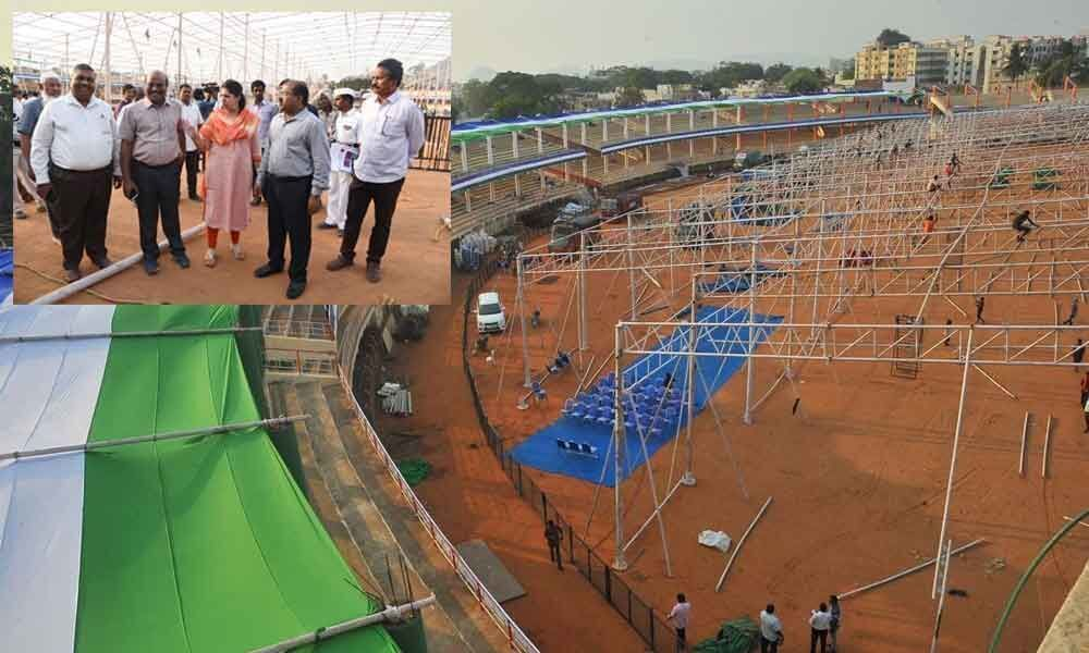 IGMC stadium gets ready for YS Jagan swearing-in ceremony