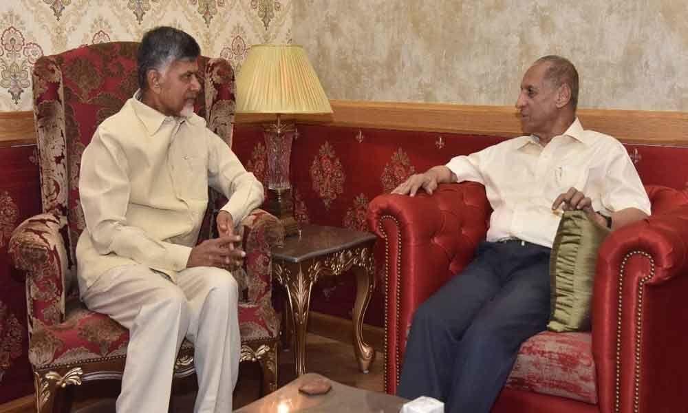 Chandrababu Naidu meets Governor Narasimhan