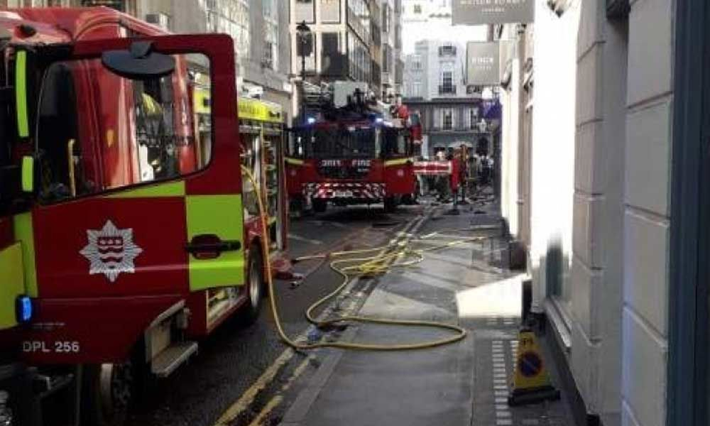 Firefighters tackle blaze at posh Indian restaurant in London