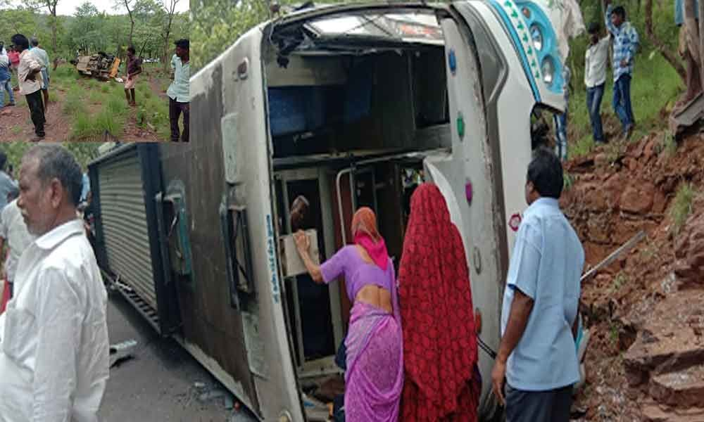 Eight injured as private bus flipped to one side on Srisailam ghat road