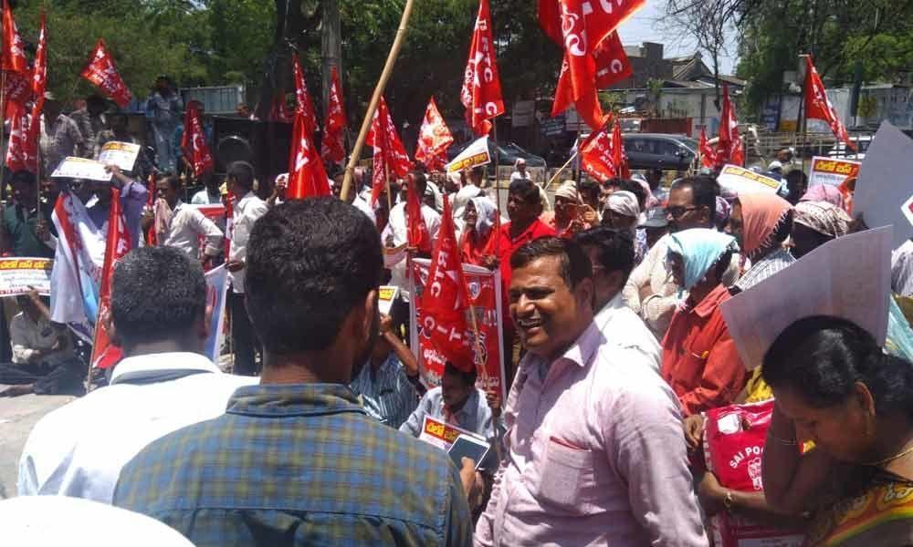 TSRTC employees protest at Bus Bhavan in Hyderabad