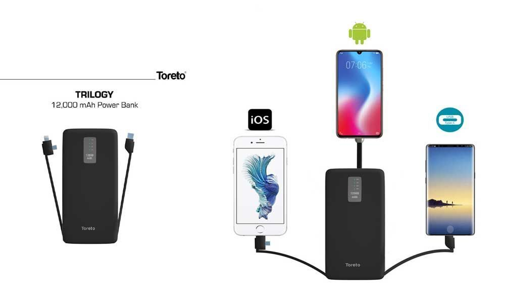 Toreto Unleashes Trilogy: Smart and Stylish Power Bank with in-built Charging Cables