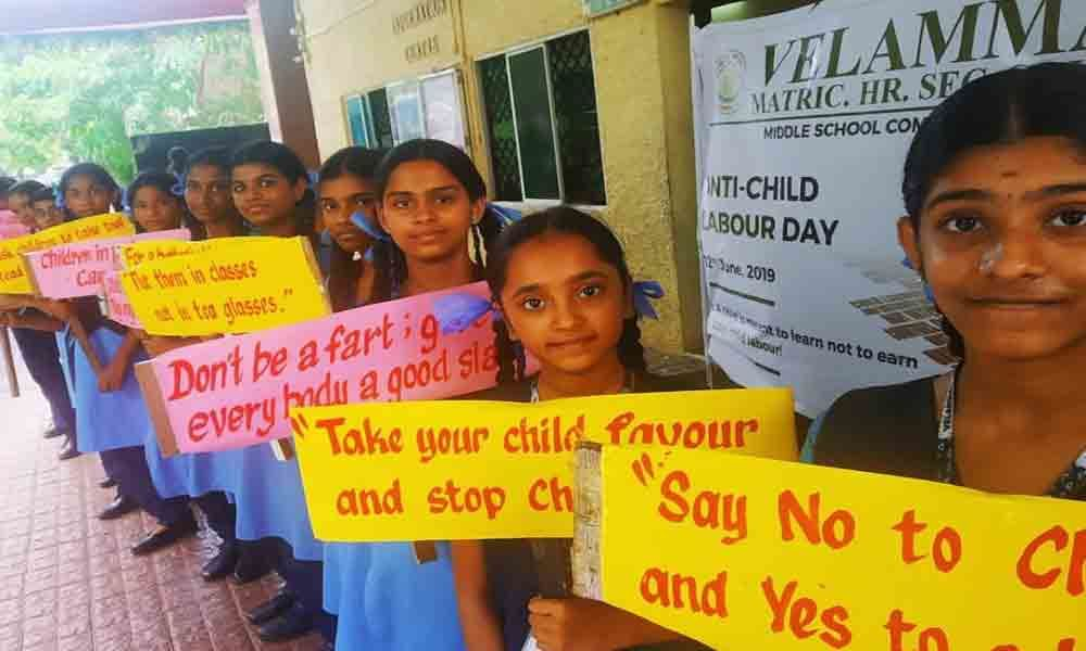World day against child labour observed at Velammal