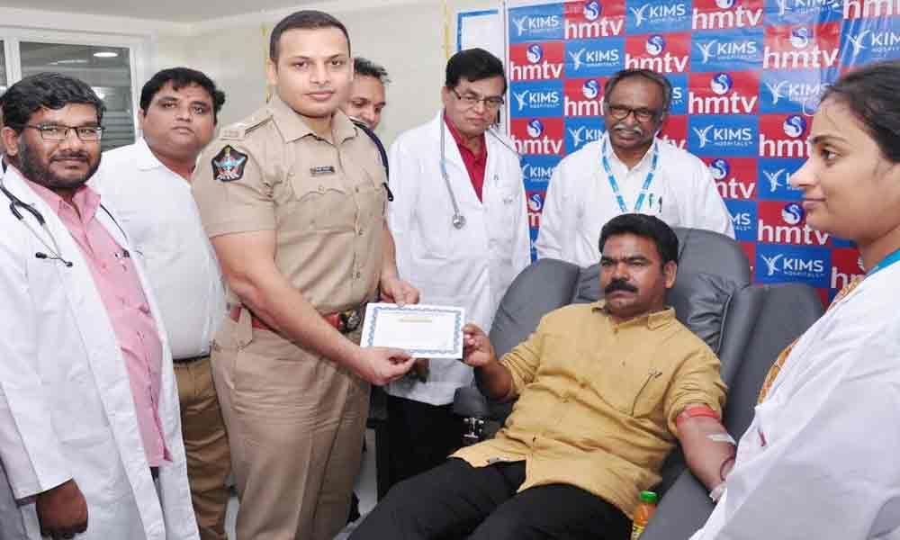 HMTV, KIMS organise blood donation camp