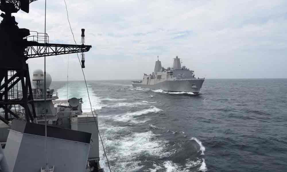 INS Ranvijay undertakes PASSEX with USS John P Murtha