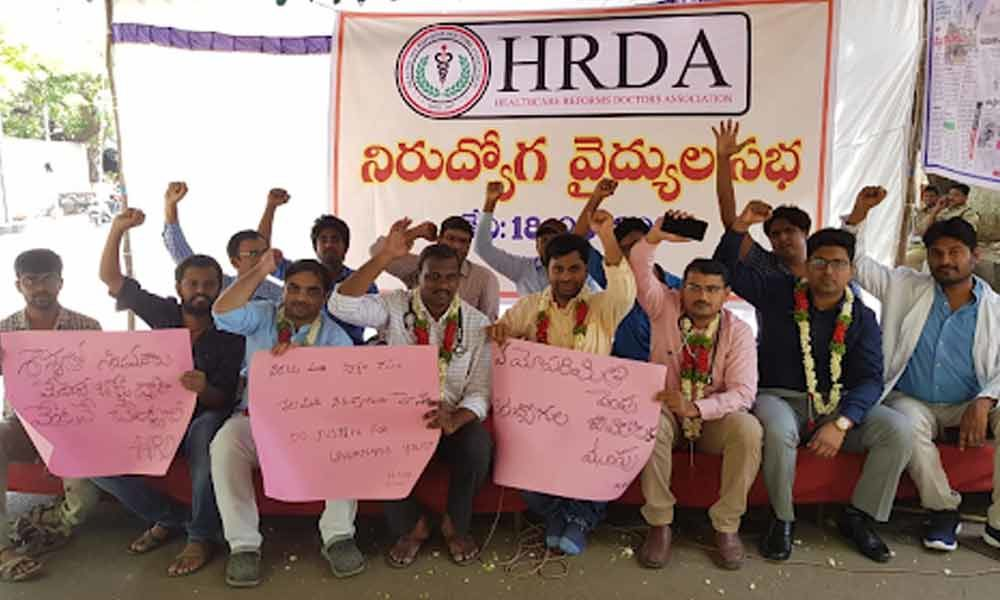 Dharna at Indira Park and various hospitals opposing age hike move